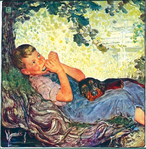 """This painting of Bruce Lundgren appeared on the cover of a 1949 calendar for Avondale Mills of Alabama. Bruce, his two brothers, and his parents, Donna and Thor (""""Swede"""") were among Mr. Crockwell's favorite models."""