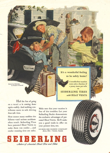 This example of Mr. Crockwell's commercial work shows how his paintings of an idealized American life were used to sell products, like Seiberling tires. The parents are Donna Lundgren, and her late husband Thor.