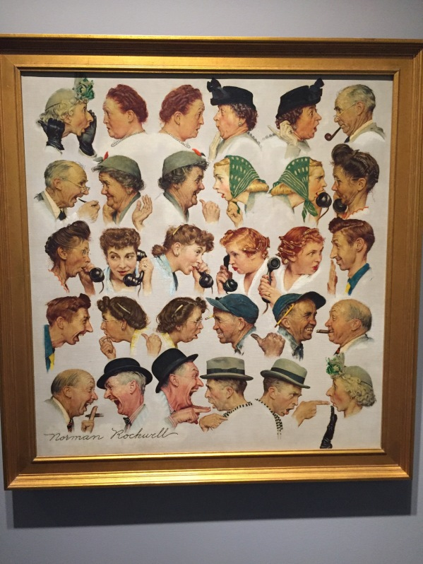 """Gossips"" 1948. Rockwell depicted himself as the subject of the storytelling, in the bottom row, right side."