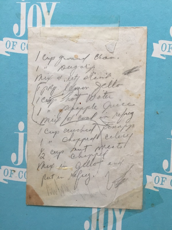 My mother's handwritten recipe for her cranberry/pineapple/jello