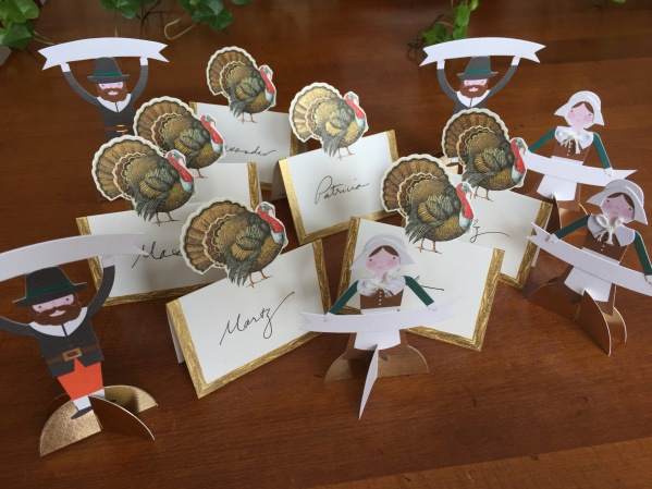 A flock of place cards! The turkey cards are from Caspari (see my post from 8/16/16 about Caspari).