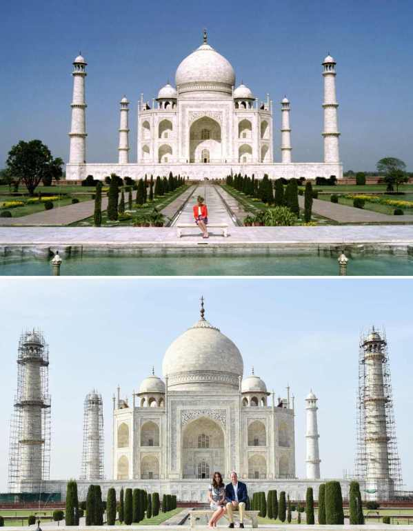 (FILES) This combination photograph shows (TOP) Princess Diana of Wales as she poses at The Taj Mahal in Agra on February 11, 1992, and (BOTTOM) Britain's Prince William, Duke of Cambridge(R)and Catherine, Duchess of Cambridge as they pose during their visit to The Taj Mahal in Agra on April 16, 2016. Prince William and his wife Catherine arrived at the Taj Mahal, wrapping up their week-long trip to India and Bhutan with a visit that carries poignant echoes for Britain's royal family. / AFP / AFP AND POOL / Money SHARMA AND Douglas CURRAN (Photo credit should read MONEY SHARMA,DOUGLAS CURRAN/AFP/Getty Images)