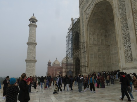 At the rear of the Taj Mahal— the entire structure is made of marble.