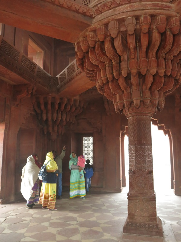 "Sandstone ""lotus"" pillars inside emperor's private audience hall."